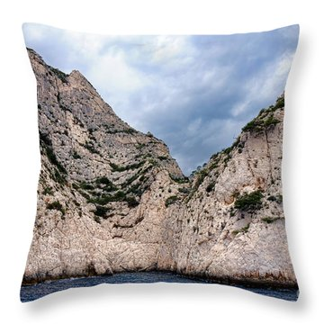 Calanque Art Throw Pillow by Olivier Le Queinec