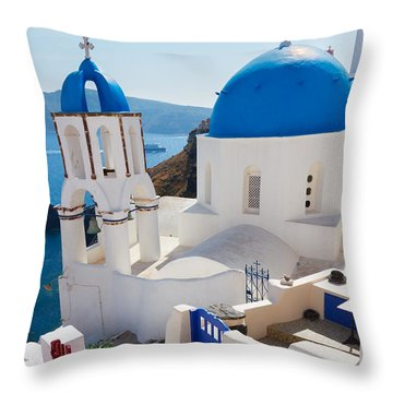 Caldera With Stairs And Church At Santorini Throw Pillow