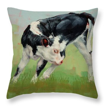 Throw Pillow featuring the painting Calf Contortions by Margaret Stockdale