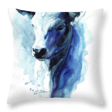Calf In Blue Throw Pillow