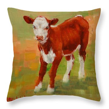 Calf Miniature Throw Pillow by Margaret Stockdale