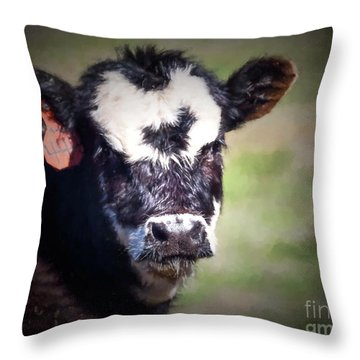 Throw Pillow featuring the photograph Calf Number 444 by Laurinda Bowling