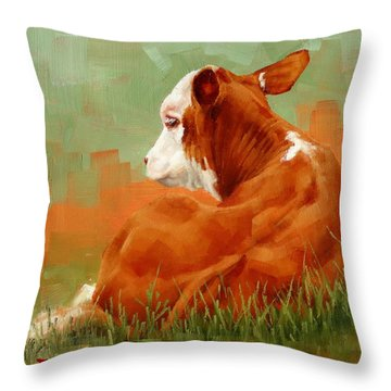 Calf Reclining Throw Pillow