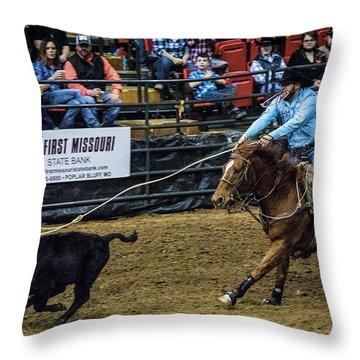 Calf Roper On Target Throw Pillow