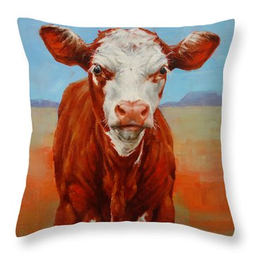 Throw Pillow featuring the painting Calf Stare by Margaret Stockdale