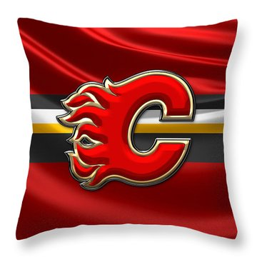 Calgary Flames - 3d Badge Over Flag Throw Pillow