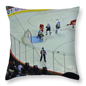Calgary Flames Home Opener Throw Pillow by Al Bourassa