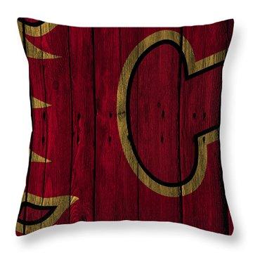 Calgary Flames Wood Fence Throw Pillow