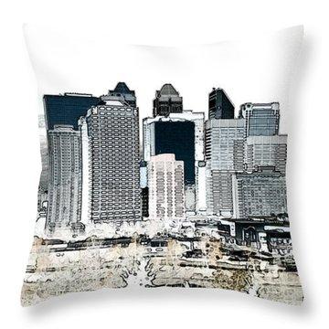 Throw Pillow featuring the digital art Calgary Skyline 1 by Stuart Turnbull