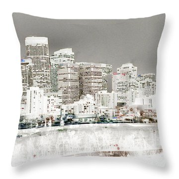 Throw Pillow featuring the digital art Calgary Skyline 3 by Stuart Turnbull