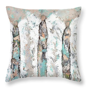 Calico Angel Trio Throw Pillow by Kirsten Reed