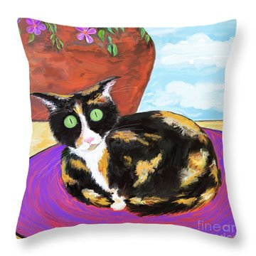 Calico Cat On A Rug  Throw Pillow