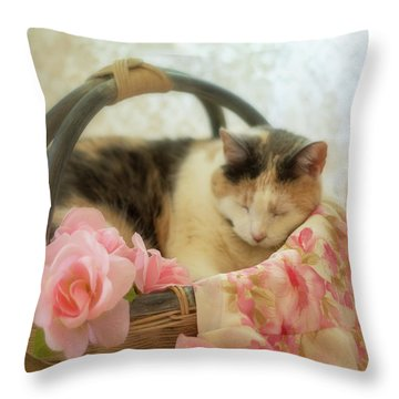 Calico Kitty In A Basket With Pink Roses Throw Pillow