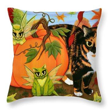 Calico's Mystical Pumpkin Throw Pillow