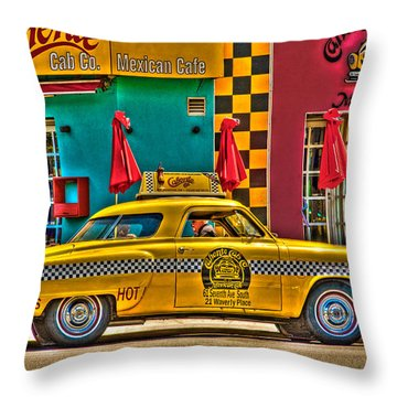 Caliente Cab Co Throw Pillow