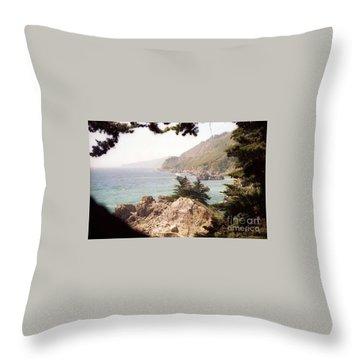 Calif Coast Drive Ocean View Throw Pillow