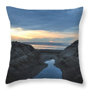 California Beach Stream At Sunset - Alt View Throw Pillow