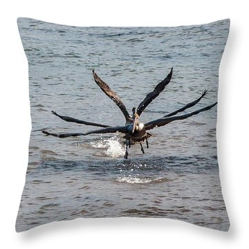 California Brown Pelicans Flying In Tandem Throw Pillow