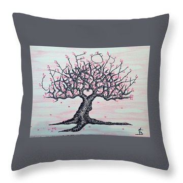 Throw Pillow featuring the drawing California Cherry Blossom Love Tree by Aaron Bombalicki