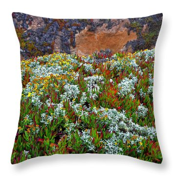 California Coast Wildflowers Throw Pillow by George Bostian