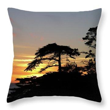 California Coastal Sunset Throw Pillow
