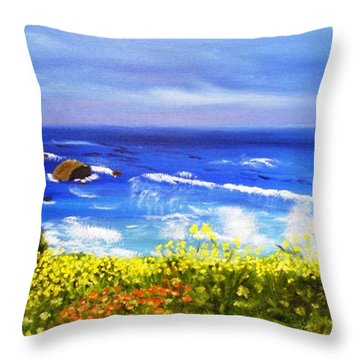 Throw Pillow featuring the painting California Coastline Big Sur Ca by  Debbie