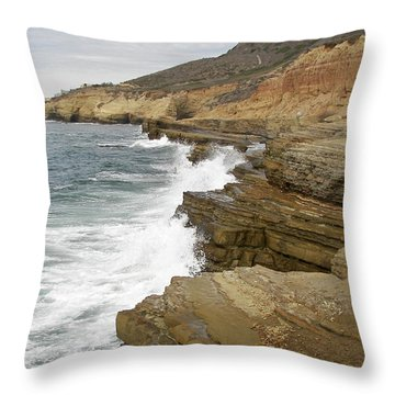 Throw Pillow featuring the photograph California Colorful Coast by Carol  Bradley