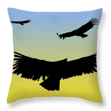 California Condors In Flight Silhouette At Sunrise Throw Pillow