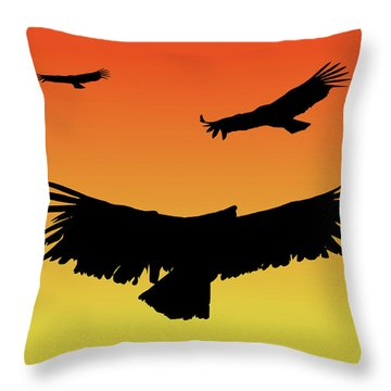 California Condors In Flight Silhouette At Sunset Throw Pillow