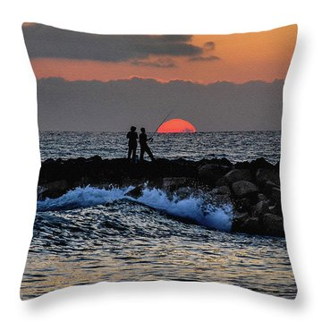 Throw Pillow featuring the photograph California Evening With Sandstone Effect by Howard Bagley