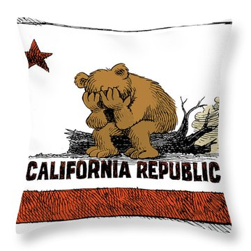 California Fire Bear Grieves Throw Pillow