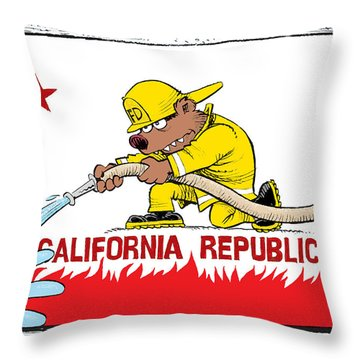 California Firefighter Flag Throw Pillow