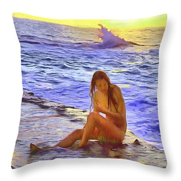 California Girl California Beach Throw Pillow