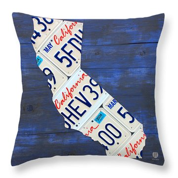 California License Plate Map On Blue Throw Pillow