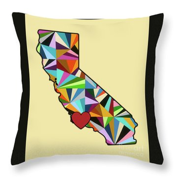 California Love Geometric Map Throw Pillow by Carla Bank