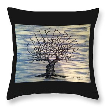 Throw Pillow featuring the drawing California Love Tree by Aaron Bombalicki
