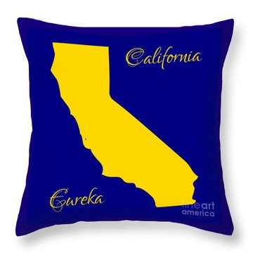 California Map With State Colors And Motto Throw Pillow by Rose Santuci-Sofranko
