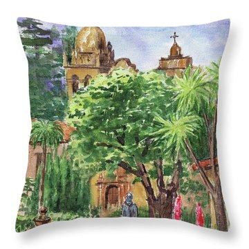 California Mission Carmel Basilica Throw Pillow