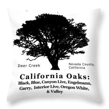 California Oak Trees - Black Text Throw Pillow