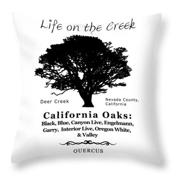 California Oak Trees - Black Text Throw Pillow