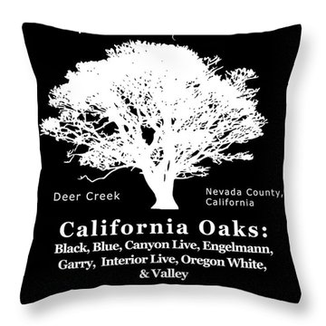 California Oak Trees - White Text Throw Pillow