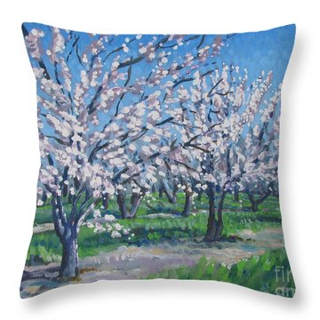 California Orchard Throw Pillow by Vanessa Hadady BFA MA