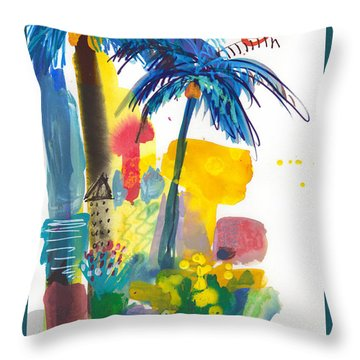 California Palm Trees, Sunny Day Throw Pillow