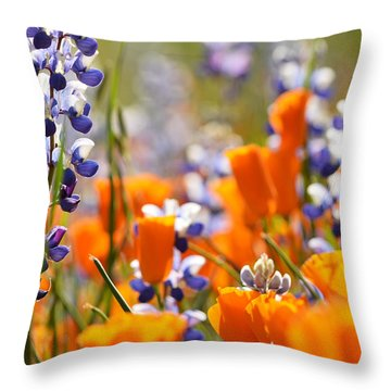 California Poppies And Lupine Throw Pillow