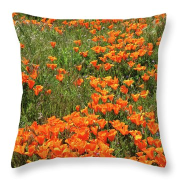Throw Pillow featuring the mixed media California Poppies- Art By Linda Woods by Linda Woods
