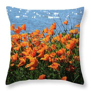 California Poppies By Richardson Bay Throw Pillow