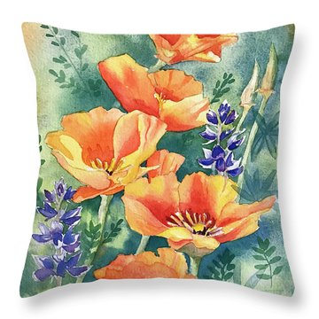 California Poppies In Bloom Throw Pillow