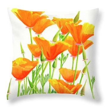 California Poppies Square Design Throw Pillow