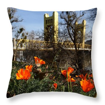 California Poppies With The Slightly Photographically Blurred Sacramento Tower Bridge In The Back Throw Pillow
