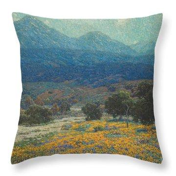 California Poppy Field Throw Pillow
